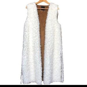 Me Jane white faux fur  long cardigan vest SE M